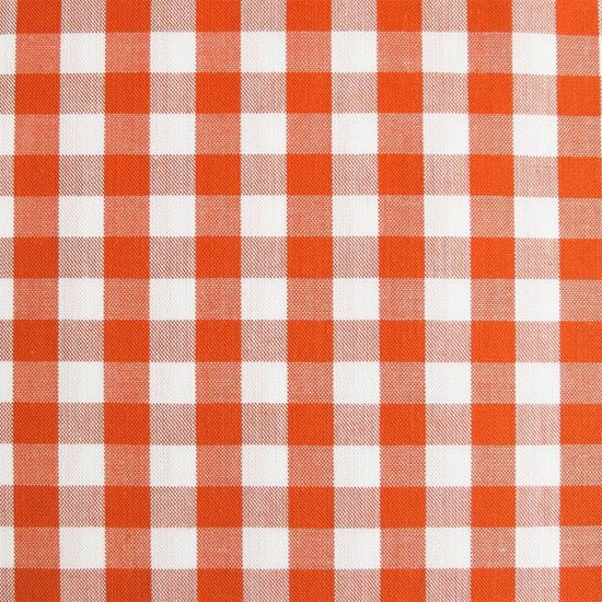 Image sur Coupon 15 x  160 cm : Tissu bio vichy orange sanguine